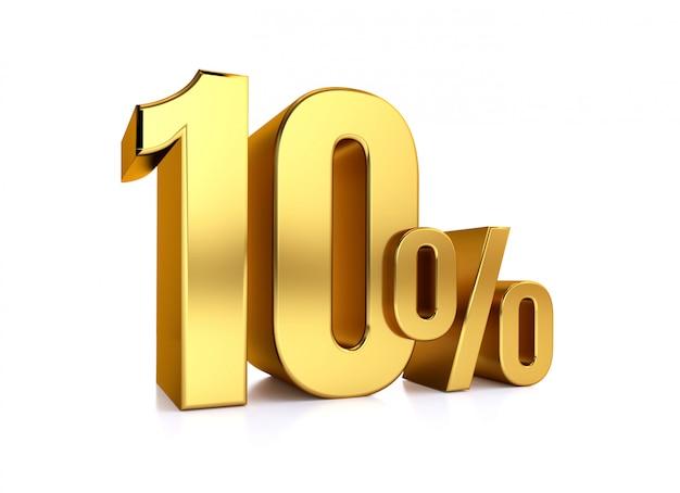 10 prozent auf weißem hintergrund. 3d-rendering gold metall rabatt. 10%