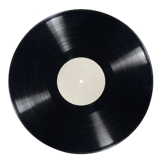 12-zoll-lp-schallplatte mit leerem etikett auf weißer oberfläche isoliert