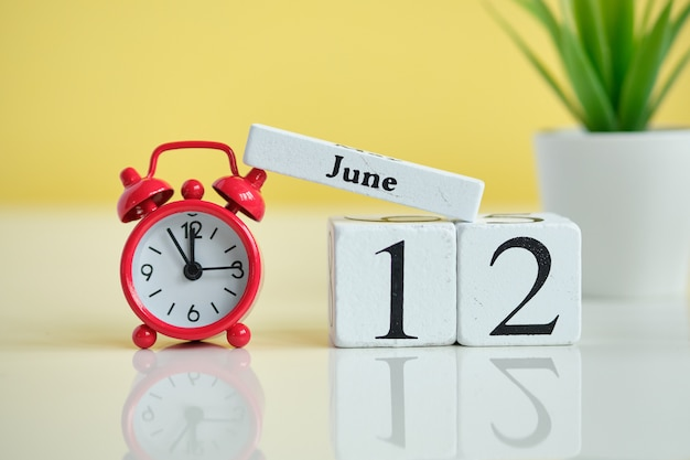 12 zwölfter tag juni monat kalender konzept auf holzblöcken.
