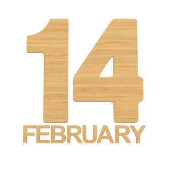 14. februar auf weißem hintergrund. isolierte 3d-illustration