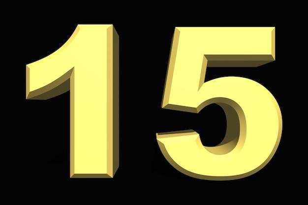 15 fünfzehn nummer 3d blau auf dunklem hintergrund