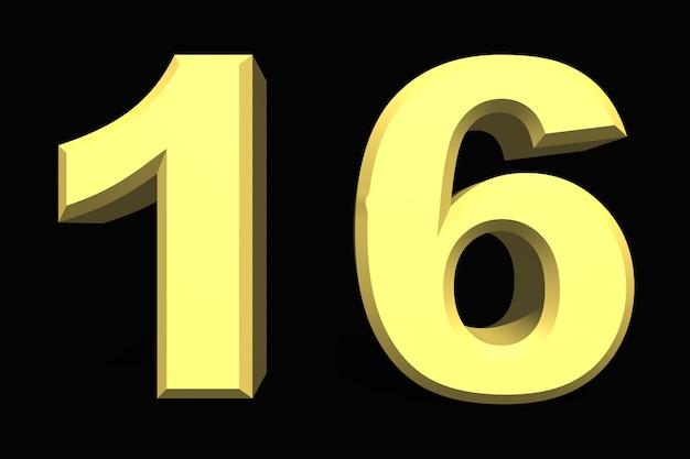 16 sechzehn nummer 3d blau auf dunklem hintergrund