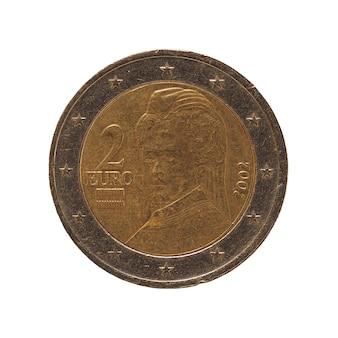 2-euro-münze, europäische union, österreich isoliert über weiß
