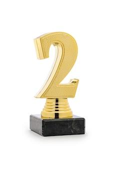 2. platz gewinner gold trophy mit der nummer zwei