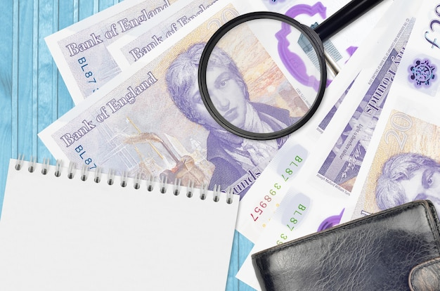 20 britische pfund scheine und lupe mit schwarzer geldbörse und notizblock. konzept des falschgeldes.