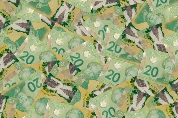 20 kanadische dollarnoten liegen auf einem großen haufen