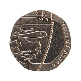 20-pence-münze, großbritannien isoliert über weiß