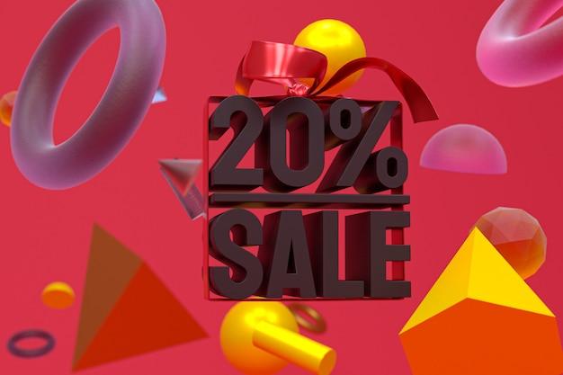 20% verkauf mit bogen und band 3d-design auf abstrakter geometrie-hintergrund