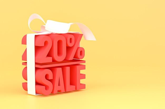 20% verkauf mit bogen und band 3d design auf leerem banner