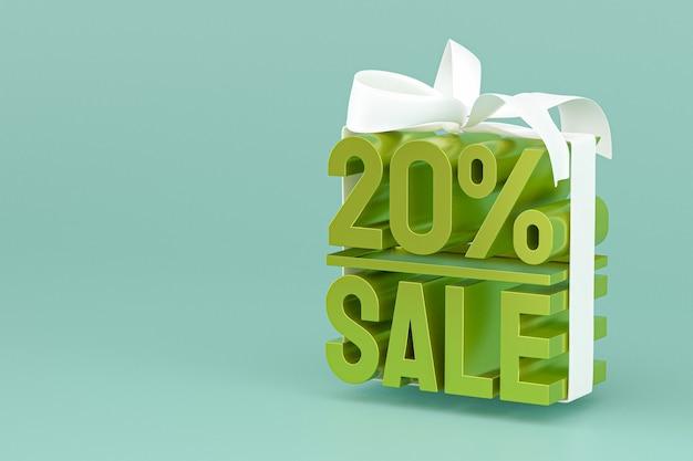 20% verkauf mit bogen und band 3d design auf leerem hintergrund