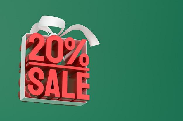20% verkauf mit bogen und band 3d design