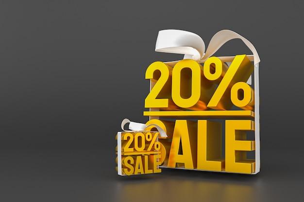 20% verkauf mit schleife und band 3d-design auf leerem hintergrund