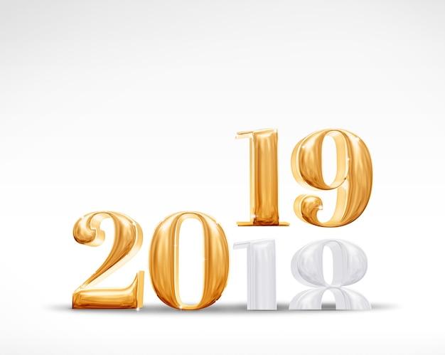 2018 wechsel zu 2019 neues jahr golden auf weißem studio-zimmer