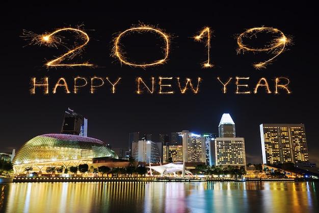 2019 frohes neues feuerwerk mit sparkle mit singapur in der nacht