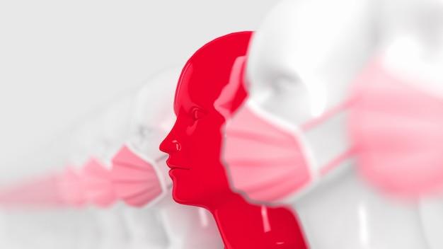 2019-ncov covid-19-konzept. konzept der infektionsquelle. weiblicher glänzender roter kopf ohne maske vor dem hintergrund anderer maskierter personen.