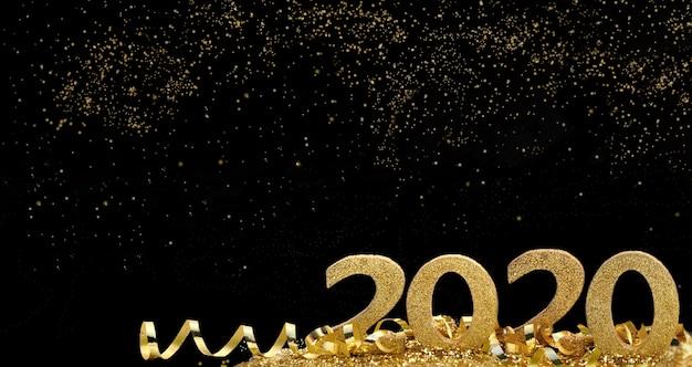 2020 goldene figuren stehen in band und funkelt in sternennacht abstrakt