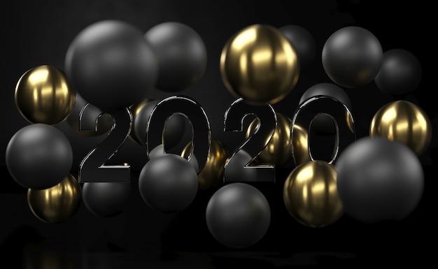 2020 goldener und schwarzer abstrakter hintergrund mit luftblasen der kugeln 3d. weihnachtskugeln mit gold texturiert. schmuck-cover-konzept. horizontale fahne. dekoration auf einer weißen oberfläche für neues jahr. 3d-rendering.