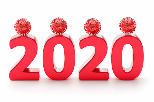 2020 ist das jahr des coronavirus. ziffer 2020 mit viren. 3d-rendering