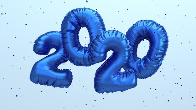 2020 wiedergabeillustration des neuen jahres 3d. blaue metallische folienzahlen beschriften das fliegen in der luft.