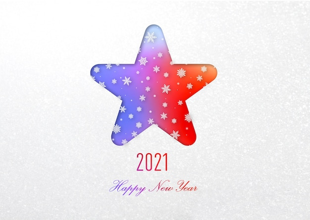 2021 frohes neues jahr regenbogenkarte im sternrahmen