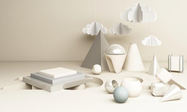 2021 geometrische form im weißton-3d-rendering