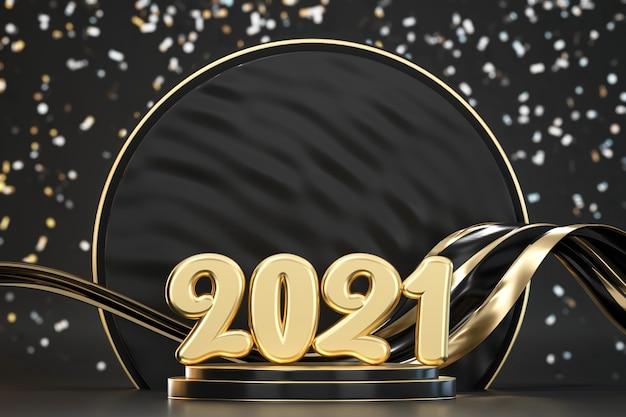 2021 goldene typografie auf podium mit verschwommenem konfetti-hintergrund 3d rendern