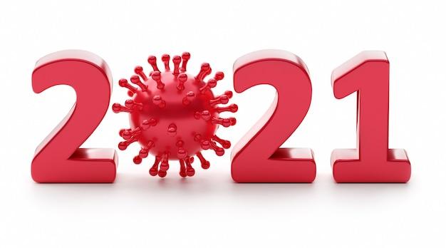 2021 ist das jahr des coronavirus. ziffer 2021 mit viren. 3d-rendering