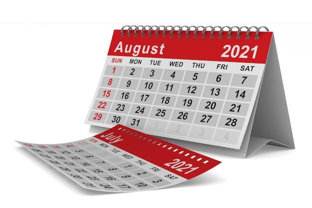 2021 jahre. kalender für august. isolierte 3d-illustration
