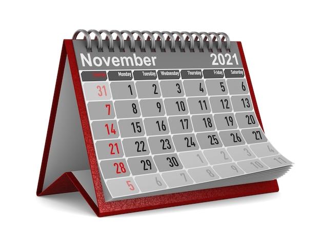 2021 jahre. kalender für november.