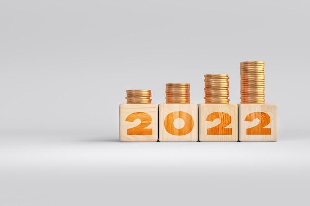 2022 anlagestrategie geld wachsender wachstumswert von einlagenholzwürfeln - anlagekonzept. 3d-rendering