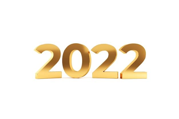 2022 frohes neues jahr. goldene zahlen, 3d-darstellung.