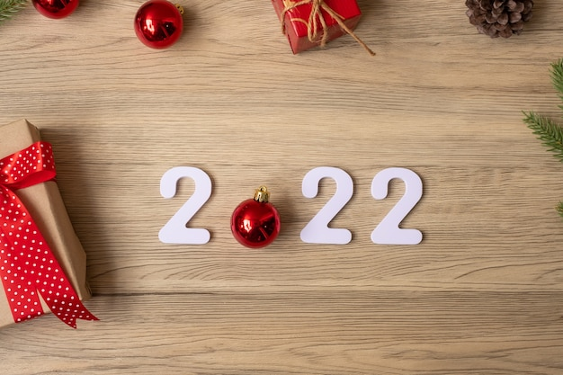 2022 frohes neues jahr mit weihnachtsdekoration. neuanfang, vorsatz, ziele, plan, aktion und missionskonzept