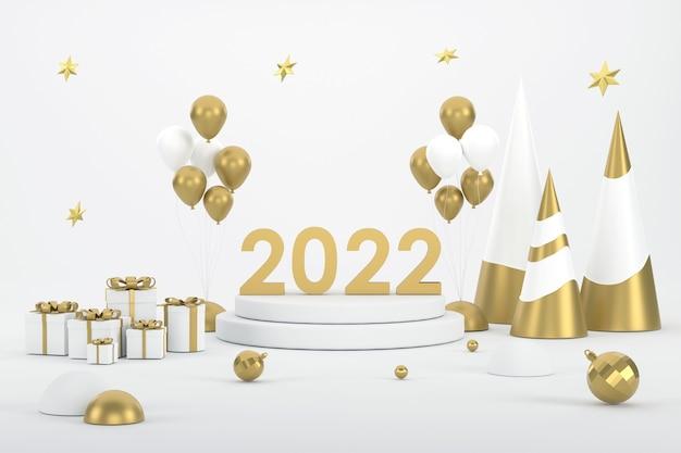 2022 goldener weihnachtsbaumballon und prodium zur produktpräsentation beim weihnachtsfest