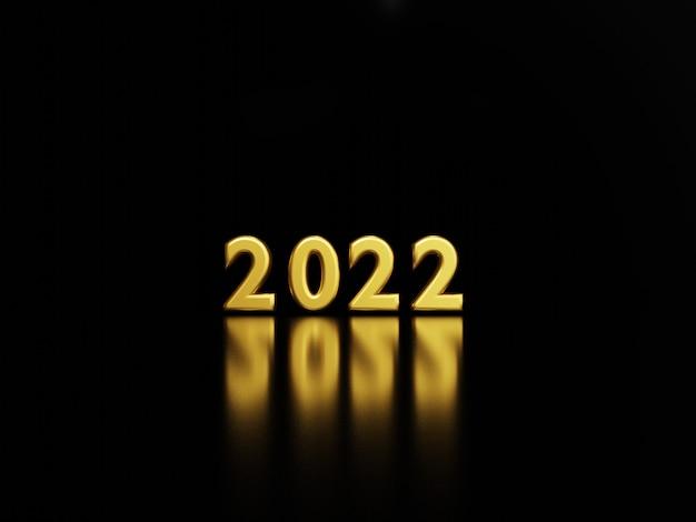 2022 luxus goldene zahl auf dunklem hintergrund mit reflexion für die vorbereitung frohe weihnachten und guten rutsch ins neue jahr konzept, 3d-rendering-technik.