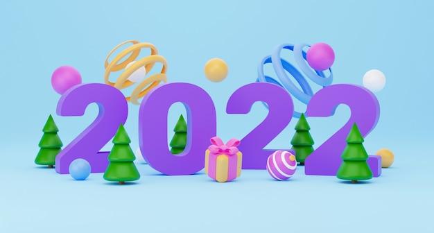 2022 neujahrsbanner. 3d-rendering, abstrakter bunter geometrischer hintergrund, mehrfarbige bälle, ballons, primitive formen, minimalistisches design. frohe weihnachten und ein glückliches neues jahr grußkarte