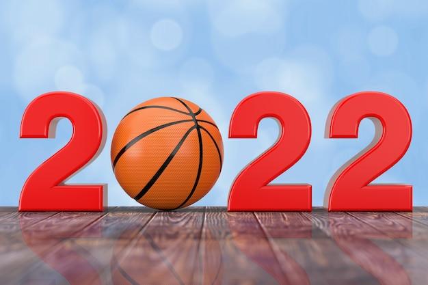 2022 neujahrsschild mit basketballball auf einem holztisch. 3d-rendering