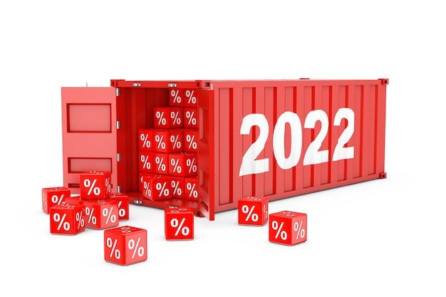 2022 new year red cargo shipping container mit rabatt-prozentwürfel auf weißem hintergrund. 3d-rendering