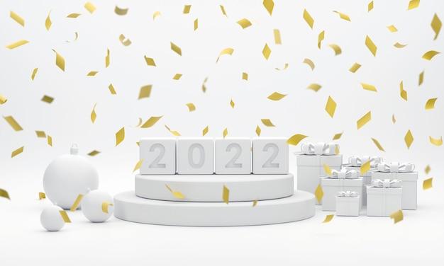 2022 podium weihnachtskugeln goldbänder und geschenkboxen für showprodukt auf dem weihnachtsfest