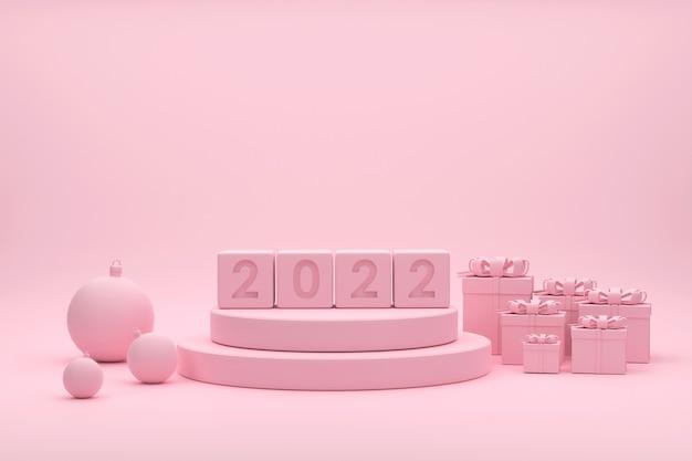 2022 rosa podium weihnachtskugeln goldbänder geschenkboxen für showprodukt beim weihnachtsfest