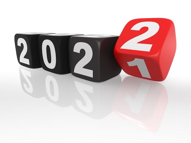 2022 rote würfel. isoliert auf weißem hintergrund. 3d-rendering