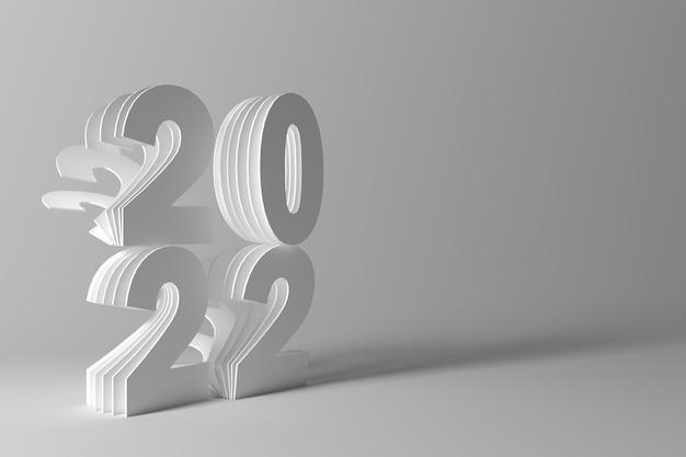 2022 weißer hintergrund im papercut-stil mit realistischem schatten