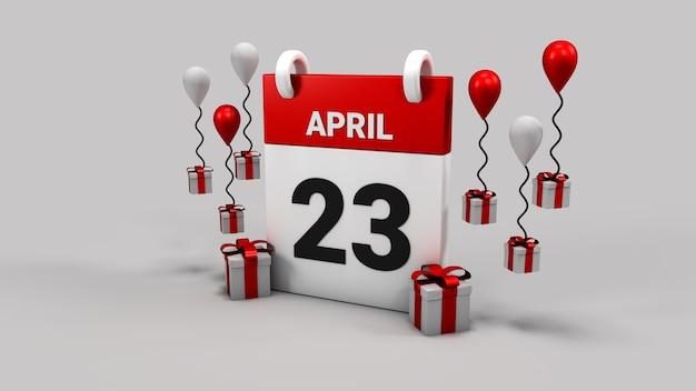 23. april nationale souveränität und kindertageskalender 3d rendern hintergrund