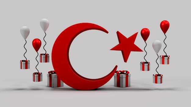 23 nisan nationale souveränität und kindertag kalender 3d rendern