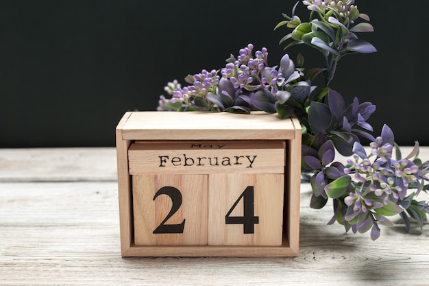 24. februar. tag 24 des monats februar, kalender flach, ansicht von oben. winterzeit