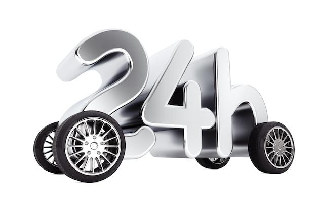 24 stunden service und lieferkonzept auf rädern auf weißem hintergrund. 3d-rendering.