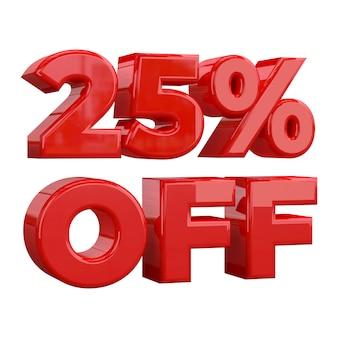 25% rabatt auf weißem hintergrund, sonderangebot, tolles angebot, verkauf. fünfundzwanzig prozent weg vom fördernden