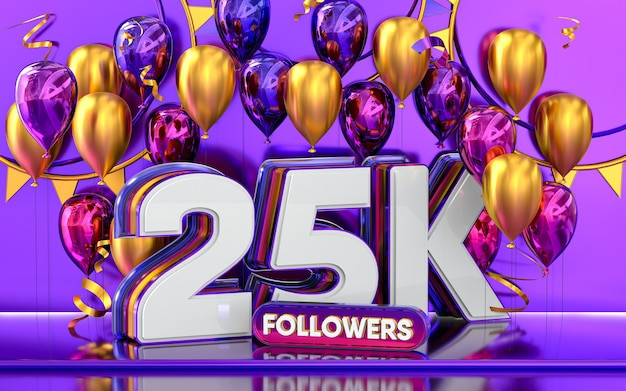 25k-follower-feier danke social-media-banner mit lila und goldenem ballon 3d-rendering