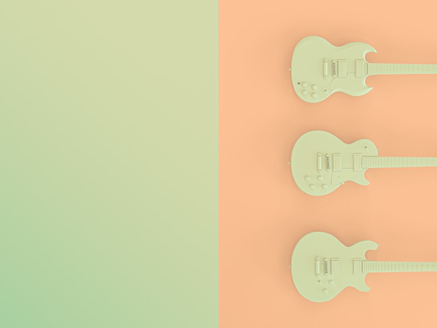 3 e-gitarren auf zweifarbigem hintergrund. 3d render bild.