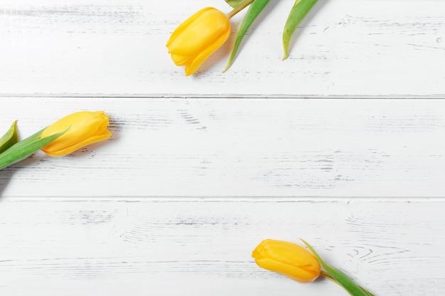 3 gelbe tulpen auf weißer holzoberfläche, blumen