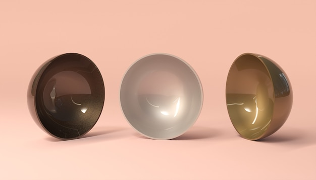 3 glasierte schüssel auf rosa oberfläche. 3d-rendering